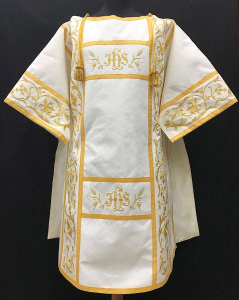 Immagine di Tunicella Ricamo Ramage IHS Oro Tela Vaticana Bianco Rosso Verde Viola Oro Azzurro