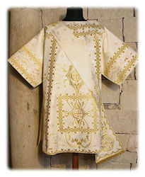 Picture of Tunicle Gold Direct Embroidery Lily Damask White Red Green Violet Gold Light Blue