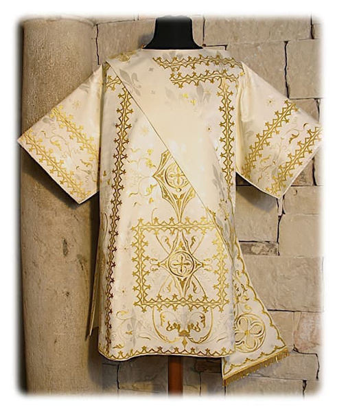 Picture of Tunicle Gold Direct Embroidery Pure Wool White Red Green Violet Gold Light Blue