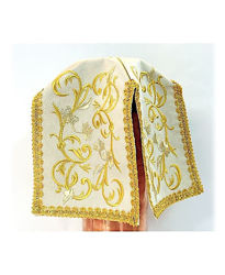 Picture of Ciborium Veil Ramage Embroidery Satin White Red Green Violet
