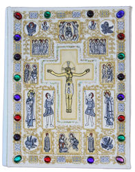 Picture of Cover for Lectionary Missal All-Over Embroidery Cabochon Beads Orolana White Red Green Violet