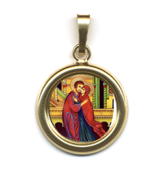 Imagen de El abrazo de los novios Santa Ana y San Joaquín Medalla colgante redonda Diám mm 19 (0 75 inch) Plata con baño de oro y Porcelana Unisex Mujer Hombre