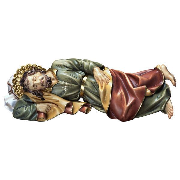 Immagine di Statua San Giuseppe Dormiente cm 12 (4,7 inch) dipinta ad olio in legno Val Gardena