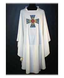 Immagine di Casula Collo Aperto Ricamo Diretto Croce JHS Tela Vaticana Avorio Rosso Verde Viola