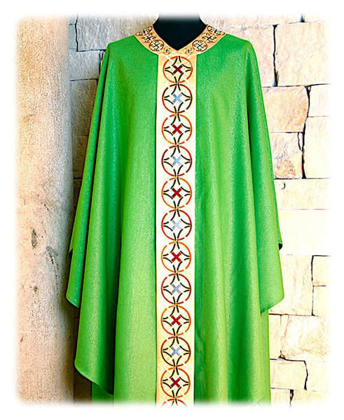 Imagen de Casulla Estolón y Cuello Raso Oro Bordado Geométrico Lona Vaticana Marfil Rojo Verde Morado