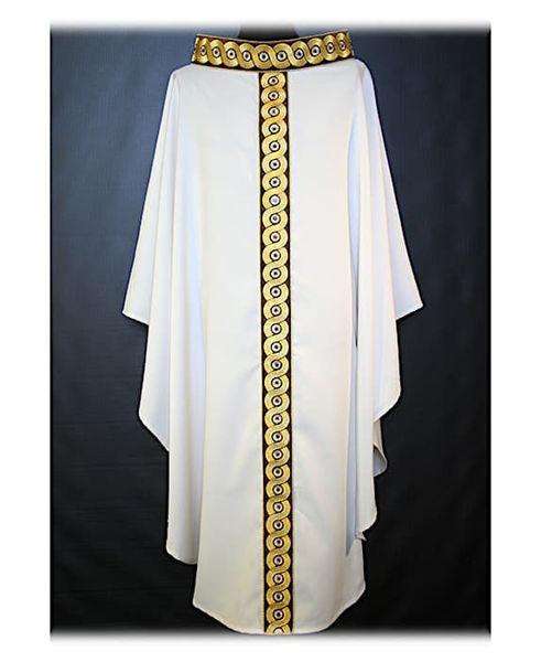 Immagine di Casula Ricamo Geometrico Oro Colore Cordoncino Strass Cristallo Tela Vaticana Avorio Rosso Verde Viola