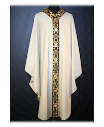 Picture of Chasuble Floral Embroidery Sequins Crystal Rhinestones Vatican Canvas Ivory Red Green Violet