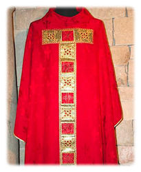 Picture of Chasuble Satin Tau Orphrey Geometric Embroidery Rhinestones Damascus Lily  Ivory Red Green Violet