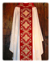 Picture of Chasuble Velvet Orphrey Roll Collar Baroque Embroidery Damascus Lily Ivory Red Green Violet