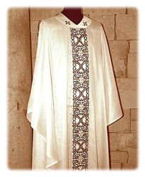 Picture of Chasuble with gold satin Orphrey and Collar Floral Embroidery Sequins Rhinestones Shangtung Ivory Red Green Violet