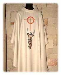 Immagine di Casula ricamo motivo Croce San Francesco Lana Avorio Rosso Verde Viola