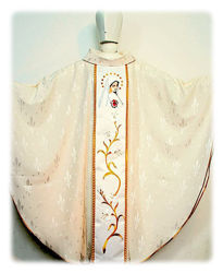 Picture of Marian Chasuble Embroidered Satin Orphrey Damascus Lily Ivory