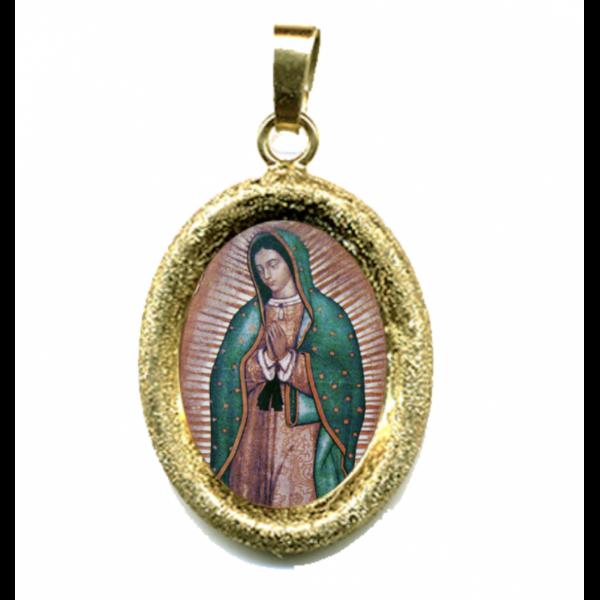 Imagen de Nuestra Señora de Guadalupe Medalla Colgante oval acabado diamante mm 19x24 (0,75x0,95 inch) Plata con baño de oro y Porcelana Unisex Mujer Hombre