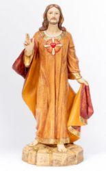 Immagine di Sacro Cuore di Gesù cm 110 (44 Inch) Statua Fontanini in Resina per esterno dipinta a mano