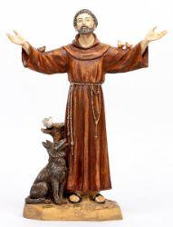 Immagine di San Francesco d'Assisi cm 51 (20 Inch) Statua Fontanini in Resina per esterno dipinta a mano